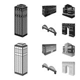 Arc de Triomphe à Paris, pont renforcé, bâtiment de café, Chambre dans le style scandinave Ensemble architectural et de bâtiment illustration stock