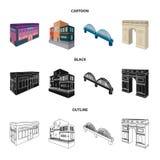 Arc de Triomphe à Paris, pont renforcé, bâtiment de café, Chambre dans le style scandinave Ensemble architectural et de bâtiment illustration libre de droits