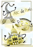 Arc de Triomphe, καθεδρικός ναός, πύργος του Άιφελ στο Παρίσι για να καλύψει το carto Στοκ Φωτογραφία