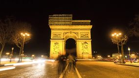 Arc de Triomphe νύχτα Timelapse απόθεμα βίντεο