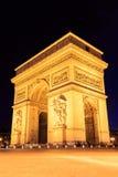 Arc de Triomphe Παρίσι πόλη τη νύχτα Στοκ εικόνες με δικαίωμα ελεύθερης χρήσης