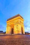 Arc de Triomphe Παρίσι πόλη τη νύχτα Στοκ Φωτογραφία