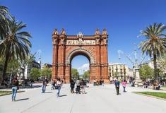 Arc de Triomphe στη Βαρκελώνη, Καταλωνία Στοκ Εικόνα