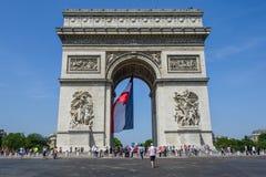 Arc de Triomphe στη γαλλική εθνική μέρα Στοκ Εικόνα
