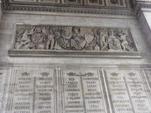Arc de Triomphe στη toile - Γαλλία - άποψη ‰ de λ ` Ã θέσεων του κατώτατου σημείου Στοκ Εικόνα