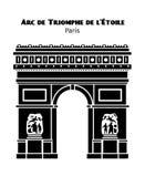 Arc de Triomphe στο διανυσματικό Μαύρο του Παρισιού που απομονώνεται Στοκ φωτογραφία με δικαίωμα ελεύθερης χρήσης