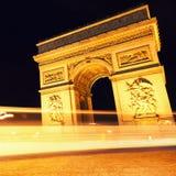 Arc de Triomphe τή νύχτα, Παρίσι Στοκ Εικόνες
