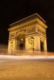 Arc de Triomphe τή νύχτα στο Παρίσι, Γαλλία Στοκ Εικόνα