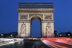 Arc de Triomphe τή νύχτα Στοκ φωτογραφίες με δικαίωμα ελεύθερης χρήσης