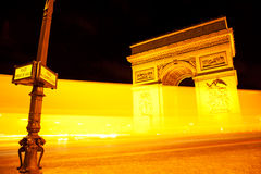Arc de Triomphe τή νύχτα Στοκ Εικόνες