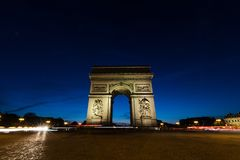 Arc de Triomphe τη νύχτα στο Παρίσι, Γαλλία Στοκ φωτογραφία με δικαίωμα ελεύθερης χρήσης