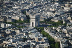 Arc de triomphe. The Arc de Triomphe seen from tour Eiffel Stock Photos