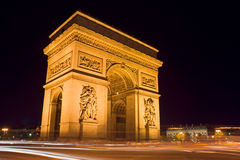 Arc de Triomphe. The Arc de Triomphe at night - Charles de Gaulle square,  Paris, France Royalty Free Stock Image
