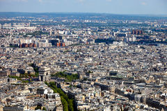 Arc de Triomphe. Aerial view of the Arc de Triomphe in Paris from the Eiffel Tower Royalty Free Stock Photography