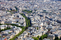 Arc de Triomphe. Aerial view of the Arc de Triomphe in Paris from the Eiffel Tower Royalty Free Stock Image
