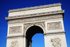 Arc De Triomphe. The  Arc De Triomphe in Paris France, a French national landmark with a clear blue sky Stock Images