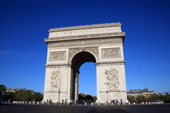 Arc De Triomphe. Paris, France, Sep 18, 2011: The  Arc De Triomphe at the western end of the Champs-Elysees, being viewed by visiting tourists Royalty Free Stock Photos
