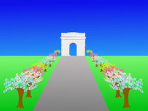 Arc de Triomphe. And Champs Elysees Paris in springtime Stock Image