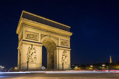 Arc de Triomphe. At night in Paris France Royalty Free Stock Photos