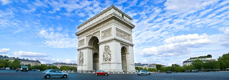 Arc de Triomphe. Panorama of the square with Arc de Triomphe in Paris, France Stock Photography