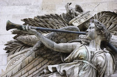 Arc de Triomphe. Detail of high-relief on Arc de Triomphe, Triumph of Napoleon Royalty Free Stock Image