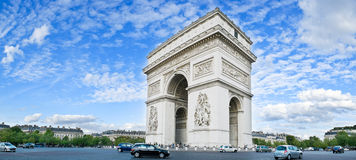 Arc de Triomphe. Panorama of the square with Arc de Triomphe in Paris, France Royalty Free Stock Photography