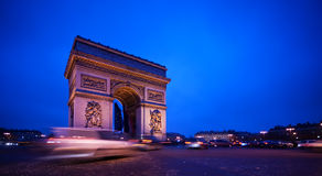 Arc de Triomphe. In Paris, by night Royalty Free Stock Photography