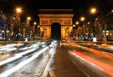 Arc de Triomphe. Night view looking up the Champs-Elysees at the Arc de Triomphe in Paris, France Royalty Free Stock Image