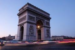 Arc de Triomphe afton Paris Frankrike Royaltyfri Foto