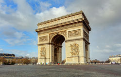 Arc de Triomphe against nice blue sky Royalty Free Stock Photos