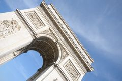 Arc de Triomphe at angle Royalty Free Stock Photo