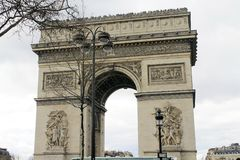 Arc de Triomphe. Arch of triumph on Charles de Gaulle Etoile place Les Champs Elysees Paris France Royalty Free Stock Photography