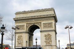 Arc de Triomphe. Arch of triumph on Charles de Gaulle Etoile place Les Champs Elysees Paris France Royalty Free Stock Images