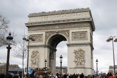 Arc de Triomphe. Arch of triumph on Charles de Gaulle Etoile place Les Champs Elysees Paris France Royalty Free Stock Photos