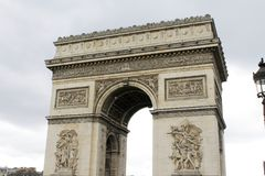 Arc de Triomphe. Arch of triumph on Charles de Gaulle Etoile place Les Champs Elysees Paris France Royalty Free Stock Photo