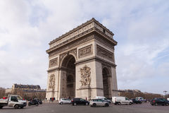 Arc de Triomphe, Arch of Triumph, Famous Tourism Landmark in Paris France Stock Images