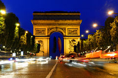Arc de Triomphe - Arch of Triumph, Paris, France. Night photo of the Arc de Triomphe - Arch of Triumph, Paris, France Royalty Free Stock Photography