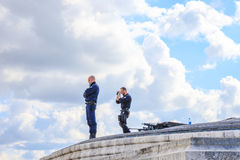 Arc de Triomphe Armed Forces. PARIS, FRANCE - JULY 2, 2017: military snipers keeping security after recent terrorist attacks in Paris. Arc de Triomphe at Place Royalty Free Stock Image