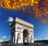 Arc de Triomphe in autumn, Paris, Royalty Free Stock Photos