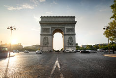 Arc de Triomphe and avenue Royalty Free Stock Photos