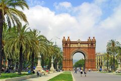 Arc de Triomphe in Barcelona royalty free stock photography