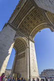 The Arc de Triomphe from below in Paris Stock Photography