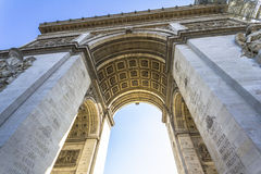 The Arc de Triomphe from below in Paris Stock Photos