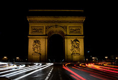 Arc DE Triomphe bij Nacht Royalty-vrije Stock Afbeelding