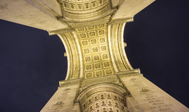 Arc de Triomphe bottom view at night Royalty Free Stock Image