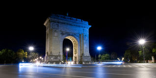 Arc De Triomphe, Bucharest, Romania. Arc De Triomphe in the night, Bucharest, Romania Stock Image