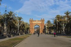 The Arc de Triomphe, built by architect Josep Vilaseca of red brick in neo-Mauritanian style. BARCELONA, SPAIN - 13 JANUARY 2018: The Arc de Triomphe, built by Stock Photography