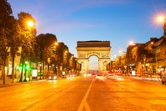 Arc de triomphe, Paris, France. Arc de Triomphe and Champ Elysees at night, Paris, France Stock Images