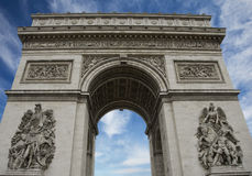 Arc de Triomphe from Champs Elysees in Paris Stock Photography