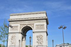 Arc De Triomphe in Champs Elysees paris Royalty Free Stock Images